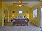Colorful bedroom 1 has a queen bed and private entrance to the deck!