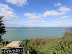 A sunny morning on the Isle of Wight. Views from the top of the private steps leading to the water