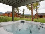 Relax in the private outdoor hot tub