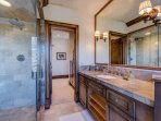 Indulge in the stand-alone shower or large tub in the King Guest Bathroom.