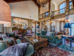 The formal living room is elegant and spacious - perfect for entertaining large groups.
