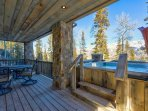 Access the hot tub from the patio on the lower level.