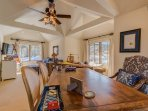 A separate suite has its own dining area and desk, making this home great for multi-family vacations.