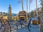 Enjoy time by the outdoor fireplace on frosty afternoons.