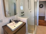 The second bathroom is right next to the queen bedroom, privacy for all