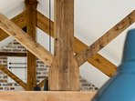 King post trusses made from reclaimed timbers