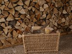 Plenty of free logs for the wood burning stove and fire pit