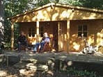 Suffolk Glamping: using WifFi on the South facing veranda