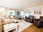 Cozy living room with coastal decor.
