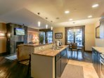 Roomy kitchen with granite countertops