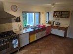 Kitchen with original vintage 1960s Habitat cabinets.