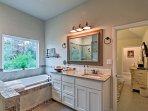 Soak away your worries in the large garden tub.
