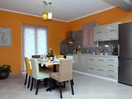 Fully equipped kitchen of luxurious Villa Myrtis