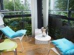 Glazed balcony with oak deck