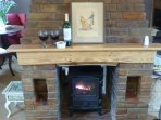 The double sided log burner heats both sitting and dinning room areas