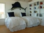 Two twin beds in library adjacent to Master Suite