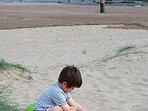 Children love the freedom of the uncrowded sandy beach.