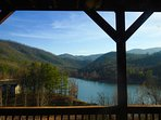 Standing on deck looking out over the lake and mountain range. Views of the Cherokee National Forest