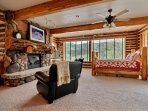 Lake Room. Giant fireplace.