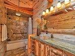 Aspen Room bath room -- with petrified wood sink