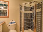 Rinse off after a long day in the full bathroom with a walk-in shower.