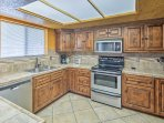 The stainless steel appliances make cooking for large groups a breeze.