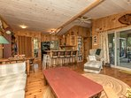boathouse living area & kitchen