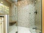 Master bath with walk in rain shower