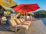 boathouse chaise and muskoka chairs