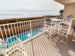 No doubt this first level condo has gorgeous beach views!