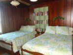 Bedroom with two double beds and TV as well as lots of books for both kids and adults