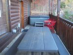 Lower Level Deck. 5-6 Person Hot Tub, 3 Piece Bistro Seating, Poly wood Picnic Seats 8.