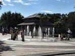 Coligny Plaza sidewalk fountain next door