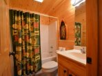 Downstairs bathroom features tub/shower combo