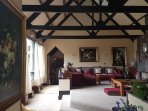 Heavy wooden beams in Executive Lounge.