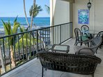 Full unit width Ocean Front Lanai - lots of room so spread out.