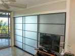 Custom, opaque shoji sliding doors between great room and MBR.