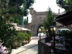 La Napoule castle and garden gates. There are many little restaurants in this pedestrian area