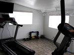Fitness room: free weights and treadmill shown here.