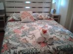 Recent pic of bedroom #1 queen bed. Jan 2018