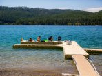 Private dock and beach for Ptarmigan guests on Whitefish Lake!