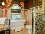 Upstairs Bath shared by a Queen Bedroom and a Doubles Bedroom.