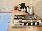 Gas hob with all kitchen appliances, Tea, coffee, sugar provided.