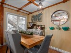 High-end wood dining table and very comfortable dining chairs.