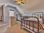Loft Bedroom with Two Twin Beds and a Half Bath