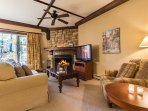 Stunning Living Area Offers a Stone Fireplace