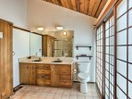 The master en-suite bathroom features a sauna for ultimate relaxation!