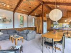 An open floor plan combines the living area, dining room and kitchen.