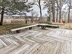The spacious deck is a great place to practice yoga or pilates.