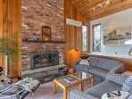 Curl up on one of the couches next to the wood-burning fireplace.